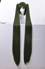 Vocaloid Senbonzakura Hatsune Miku Cosplay Wig 48'' Super Long Straight Green Costume Wigs with 2 Ponytail Free Shipping(China (Mainland))