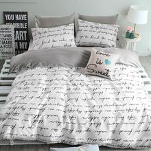 Top quality cotton Duvet covers set,Gray letters bedding set,Double single duvet covers Twin/Queen/King size,bedclothes #HM4514(China (Mainland))