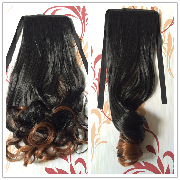 new fashion free shipping clip in ponytail for women drawstring ombre hair extension synthetic hairpiece 50cm long M0009<br><br>Aliexpress