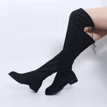 Seksi aşırı diz botları kadın botları kadın kış ayakkabı kadın süet Bota kadın uzun çizmeler moda uyluk yüksek çizmeler artı boyutu 43(China)