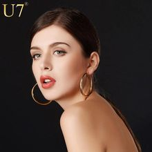 Buy U7 Brand Gold Color Big Hoop Earrings Stainless Steel Jewelry Wholesale Trendy Pattern Circle Round Earrings Women E365 for $2.91 in AliExpress store