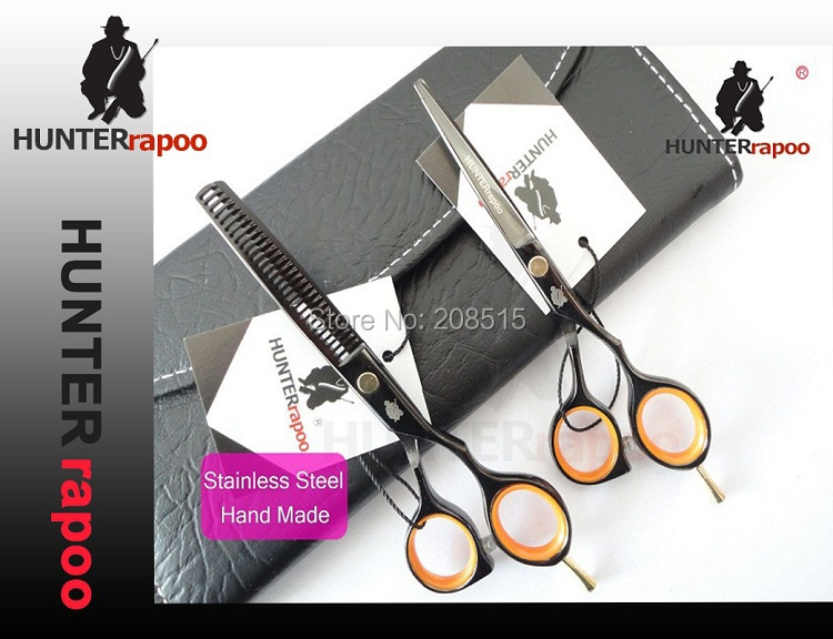 1 sets/lots 5.5 inch black titanium professional barber hair cutting thinning scissors 440C quality hairdressing salon - ESSAR store