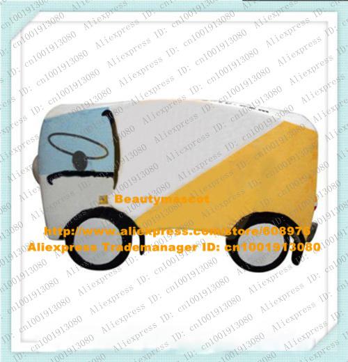 Smart White Bus Mascot Costume Mascotte Microbus Van Minivan Minibus With White Yellow Body Round Wheels No.7181 Free Ship(China (Mainland))