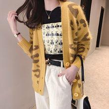 Neploe Koran Crazy style Леопардовый свободный трикотажный открытый стежок женский с v-образным вырезом сказочная Кнопка толстый кардиган Mujer Invierno 45585(China)