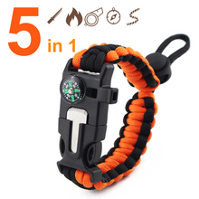 Buy 5 1 Emergency Paracord Survival Bracelet Men Women Outdoor Rescue Compass Wristband Flint Fire Adjustable Wristband Rope for $1.26 in AliExpress store