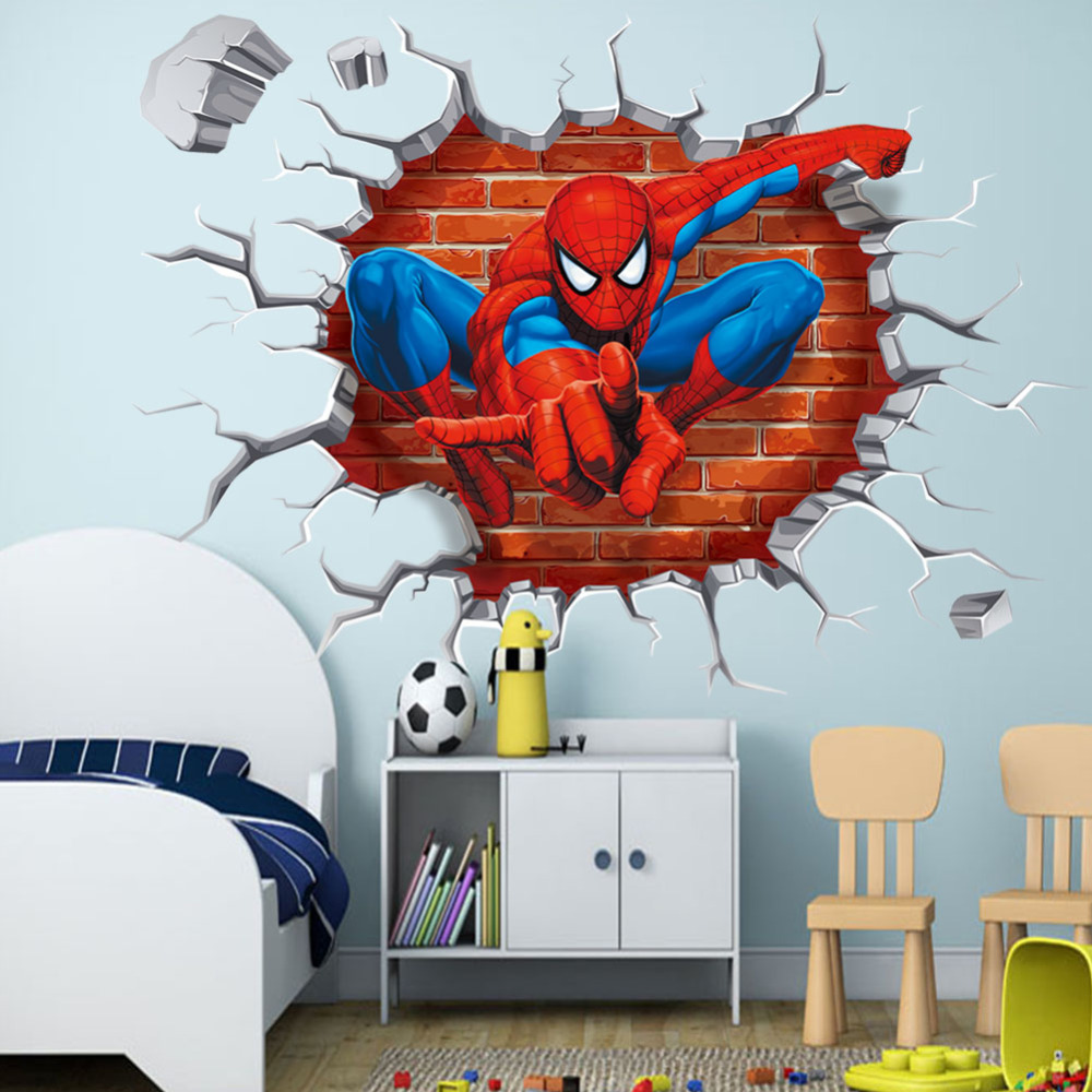 45 50cm wall hole cartoon movie spiderman kids boys love bedroom decal wall sticker home decor. Black Bedroom Furniture Sets. Home Design Ideas