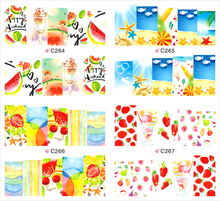 1 sheet Fruit Party Water Transfer Nail Art Stickers Decals Full Nail Foils Wraps DIY Manicure Decoration Tools C264-C267