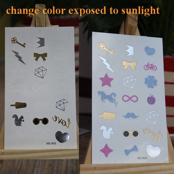 Body jewelry golden flash tattoo stickers Change color exposed to sunlight\UV 10.5x6cm(China (Mainland))