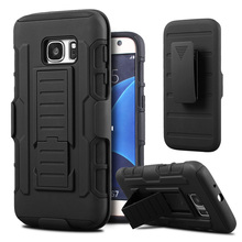 Shockproof Stand Hard Phone Cases for Samsung Galaxy S7 S3/S4/S5/S6/S7 edge Rugged Impact Belt Clip Holster Cover Phone Cases(Hong Kong)