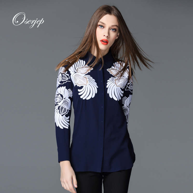 2016 Spring Summer Style Oserjep Women White/Blue Blouse Long Sleeve Turn Down Collar Woman Shirt Floral Printed Ladies Tops