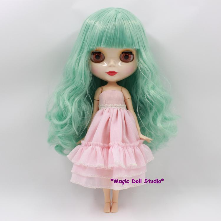 12 inch BJD NeoBlythe Doll Head Green Curly Long Hiar Nude Blyth Doll Plastic Doll Retail Neoblythe Doll [NBL032](China (Mainland))
