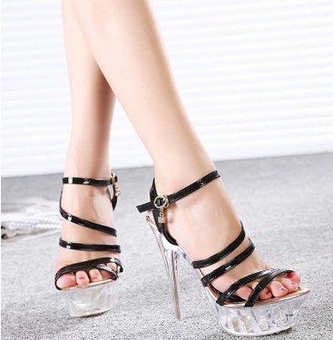 F6197 T Show 2015 Big Size 35-43 Womens Sexy Party Platform Transparent Cross-Strap Sandals Lady Fashion Glass Sandals<br><br>Aliexpress