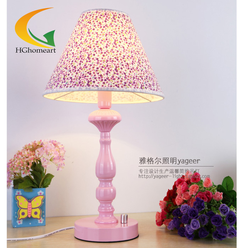 Pink bedroom bedside lamp decorative table lamp eye study desk lamp study Floral dimmable lighting sets(China (Mainland))