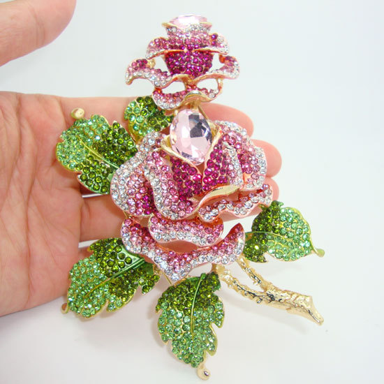 High-Quality Gold-Plated Luxury Double Rose Flowers Art Deco Brooch Beautiful Woman Pink Crystal Rhinestone Flower(China (Mainland))