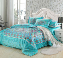 Egyptian Cotton Blue Boho Style  Bedding Queen Bohemian Bedding Moroccan Bedding Full/Queen 100% Cotton Duvet Cover set  001(China (Mainland))
