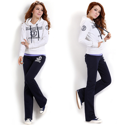 Hot Sale Sport Suit Women Clothing Set Hoodies (white/Pink) Sweatshirts+Pants Sportswear Plus Size M L XL XXL(China (Mainland))