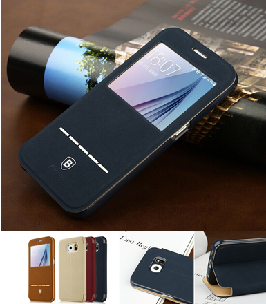 2015 Top sales Window View Smart Touch Slim Stand Flip Leather Smart Sleep Phone Cases for Samsung GALAXY S6/S6 edge 9200 9250(China (Mainland))
