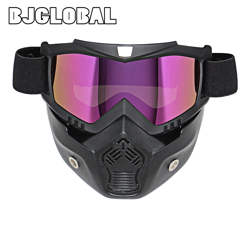 Motocross Goggles Glasses Face Dust Mask With Detachable Motorcycle Oculos Gafas And Mouth Filter For Open Face Vintage Helmets(China (Mainland))
