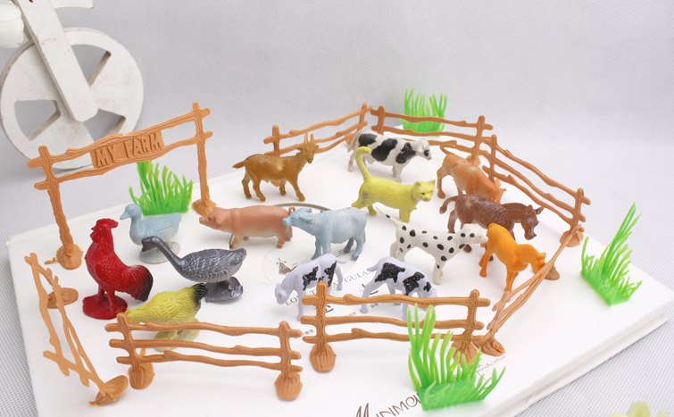 Free shipping 15pcs/set plastic farm animal model toys educational toys plastic wild animal child toys,birthday gift(China (Mainland))