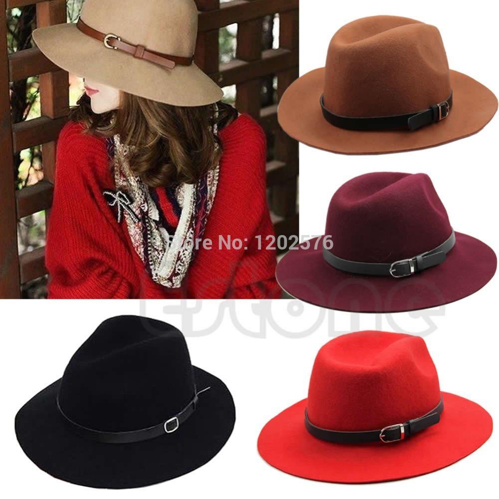 Free Shipping Retro Women Wool Belt Fedora Trilby Cap Winter Warm Wide Brim Buckle Cowboy Hat