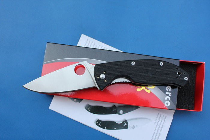Buy 2017 NEW Spyderco C122 Folding Knife G10 Handle 8cr13mov steel Camping Hunting Survival knife Pocket Outdoor EDC Tool cheap