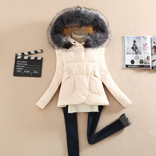 2015 winter down cotton-padded jacket Women large fur collar hooded thickening wadded jacket parka winter coat women clothing