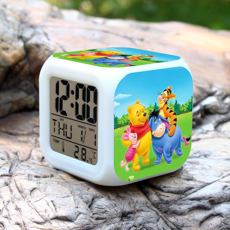 Cartoon Bear Alarm Clock Led Light 7 Color Change Projeksiyon Saat Masa Saati Projection Clock Square Digital Thermometer(China (Mainland))