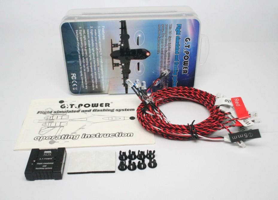 F13051 G.T.Power Flight Simulated and Flashing System / Navigation Light for RC Aircraft Airplane with 8 Operating Modes + FS(China (Mainland))