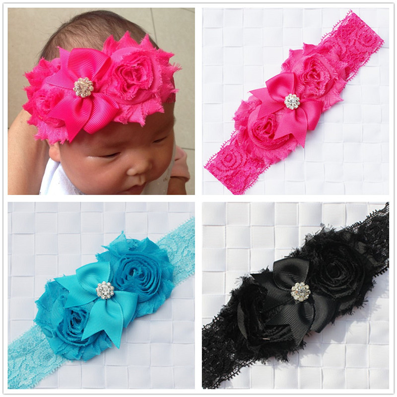 shabby flowers lace headbands for newborn infant baby girls elastic hair head band wrap bows turban headband ornaments headwrap(China (Mainland))