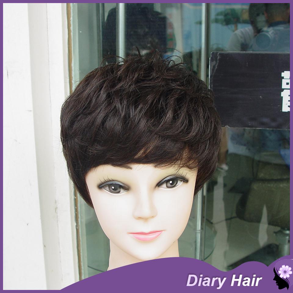 Indian nature curl human hair wigs 6A grade100% cheap human remy wavy hair bob wigs black &brown best hair cuts for black women(China (Mainland))