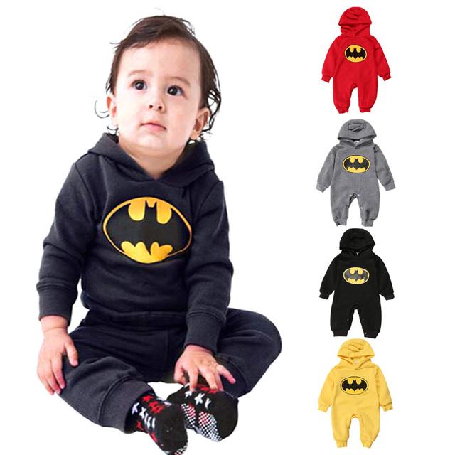 2016 зима бэтмен ребенка комбинезон с длинным рукавом с капюшоном флис комбинезоны детские мальчики девочки комбинезон для новорожденных комбинезоны детская одежда