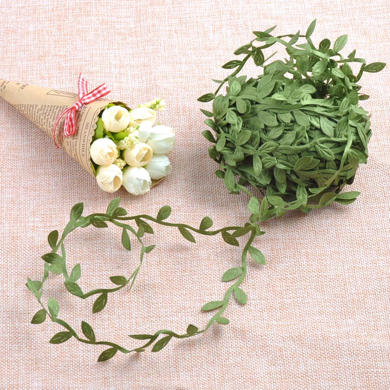 Silk Nature Green Artificial Leaf Leaves Vine Wedding Decoration Foliage Scrapbooking Craft Wreath Fake Flowers 10Meter CP0679(China (Mainland))