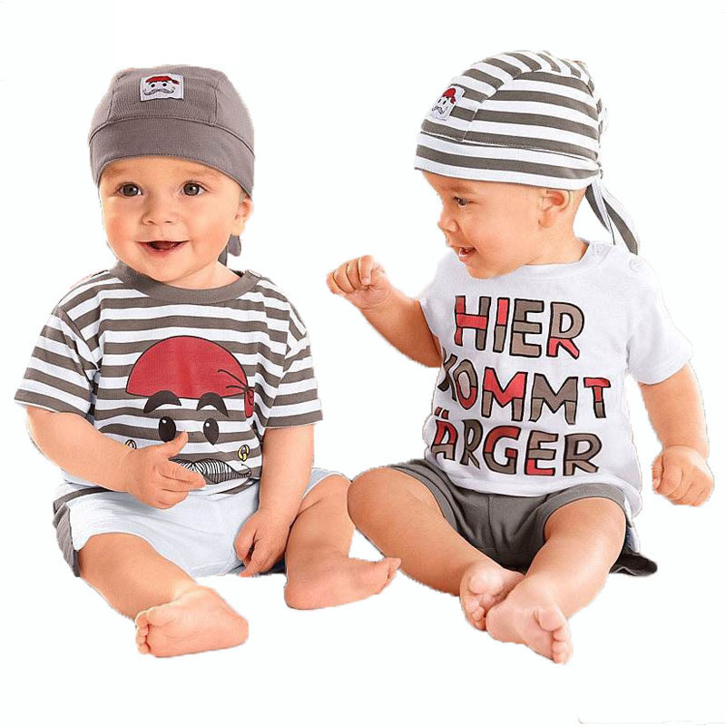 Babys set Hot sale new 2016 casual cute letter baby clothing boy suit set 3pieces hat t shirt pants summer outfit for
