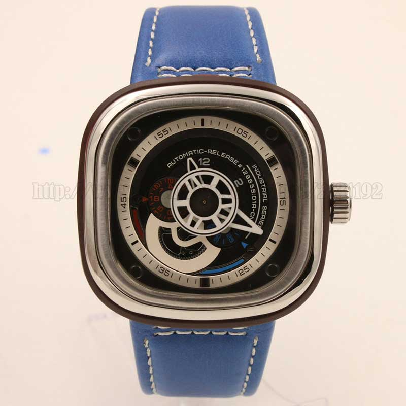 Wholesale high quality men's AAA promotion Luxury watch, quartz chronograph INDUSTRIAL SERIES colored square face leather strap(China (Mainland))