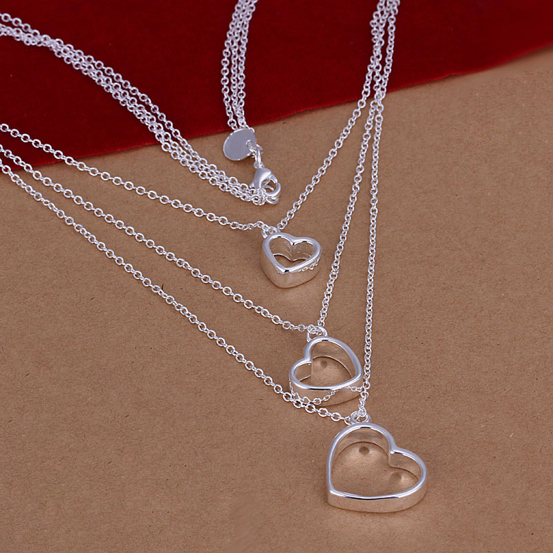 Гаджет  factory price top quality 925 sterling silver jewelry necklace fashion cute necklace heart pendant Free shipping SMTN038 None Ювелирные изделия и часы