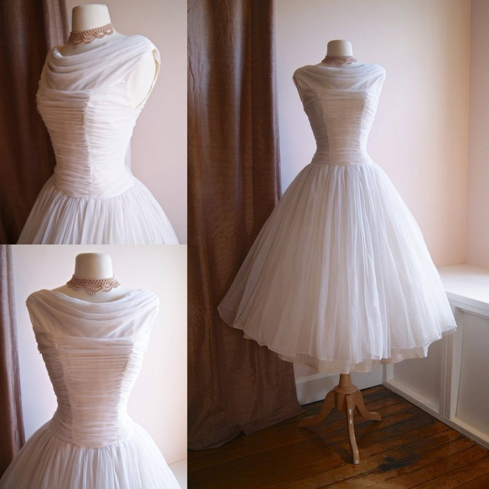 Vintage 1950s tea length wedding dress boat neck chiffon for Full skirt wedding dress