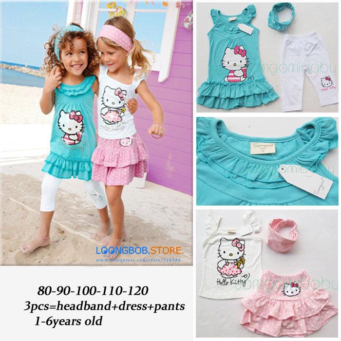 2015 baby Girl suit /Children 3pcs suit: Headband+ Dress+pants Girl Garment cartoon HELLO KITTY baby girl set 1T-6T Retail 537C(China (Mainland))