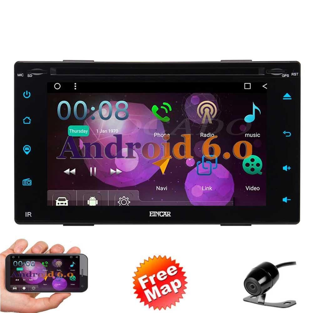 "Free Reversing Camera+Android 6.0 Double Din Car DVD Player 6.2"" Touchscreen In Dash GPS Navigation Car Stereo Radio Receiver S"