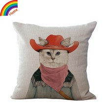 Hand Painted Animal Cute Cartoon Glasses Cat Cotton Linen Sofa Throw Pillow Case