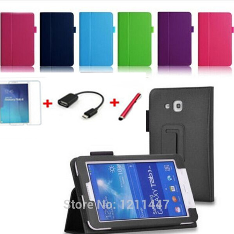 Lichee leather BOOK Cover capa para Samsung GALAXY Tab 3 Lite T110 T111 tablets + screen protetcors +pen+otg - HaoMingSen electronic commerce co., LTD store