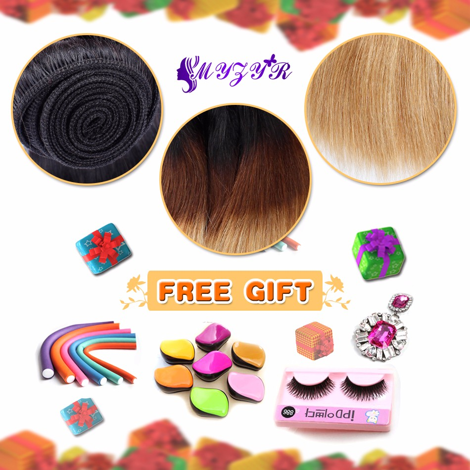 Myzyr 4Pcs Cheap Ombre Hair Brazilian Virgin Hair 1B/4/27 Three Tone Brazilian Hair Weave Straight Ombre Brazilian Hair Bundles