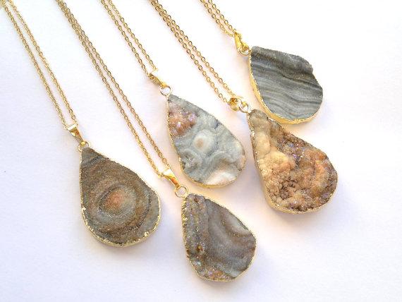 """Chalcedony Druzy Necklace Aura Druzy Galaxy Druzy Jewelry Teardrop Druzy Pendant Mineral Necklace with chain 18"""" Mixed 5pcs(China (Mainland))"""