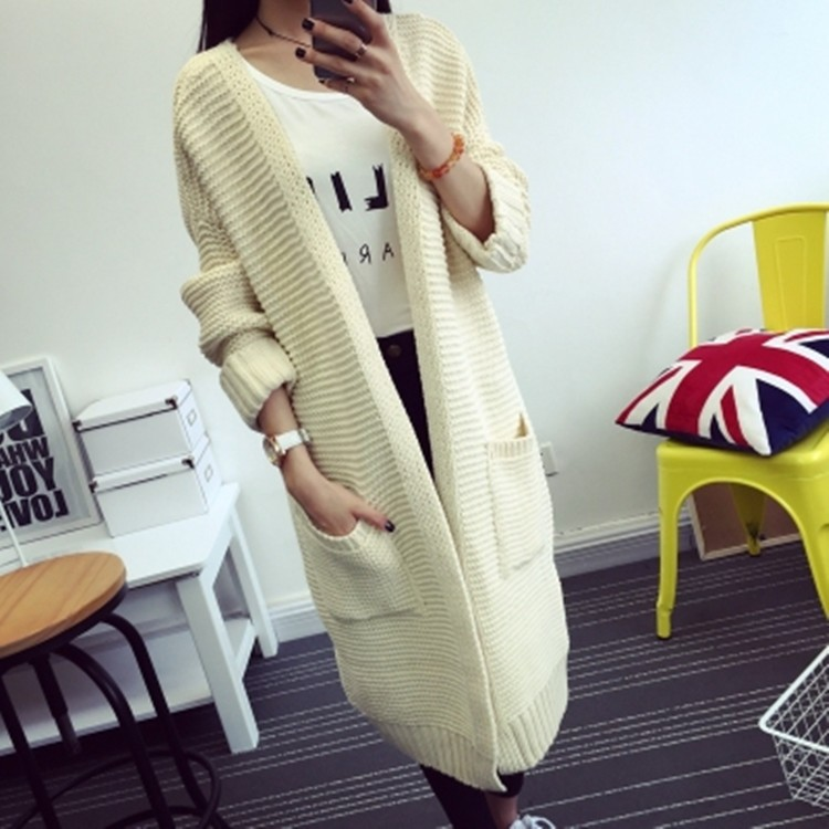 Women Long Sweater Cardigans 2016 Fashion Autumn Winter Long Sleeve Loose Thick Knitted Cardigan female Sweaters Long Coat