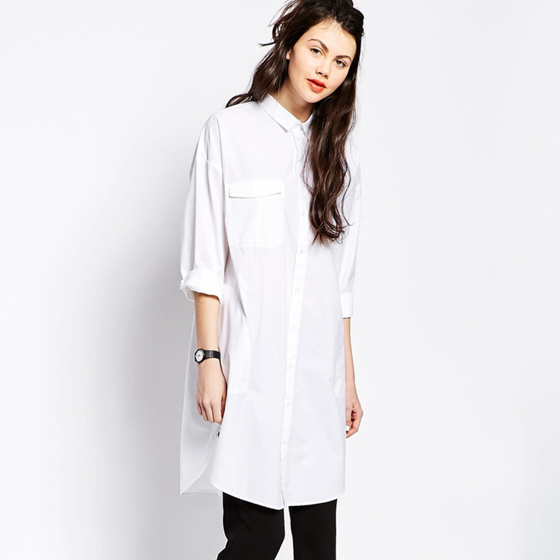 Popular Fashion Cotton Shirt Dress White Long Sleeve-Buy Cheap ...