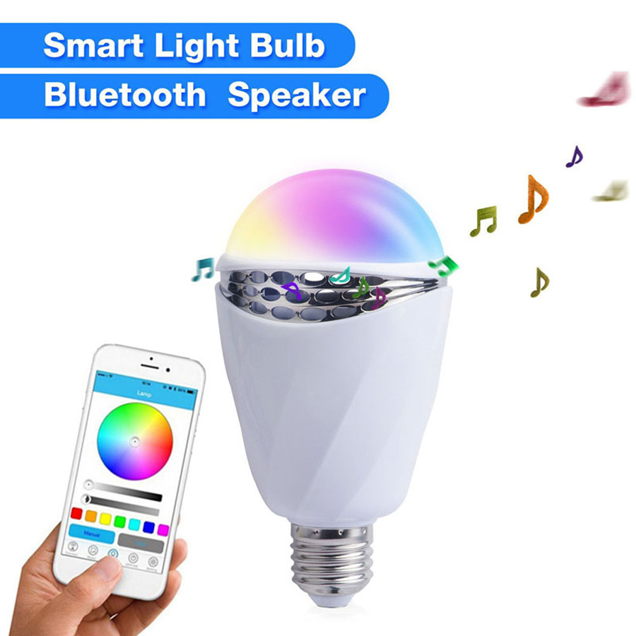 APP bluetooth smart light bulb box speaker 7 colour change Intelligent sound Colorful light bulbs for the android iphone ios(China (Mainland))