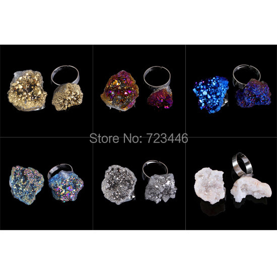 Different Natural Stone White Crystal Geode Druzy Plating Color Adjustable Rings Charms Punk European Fashion Jewelry 10pcs<br><br>Aliexpress