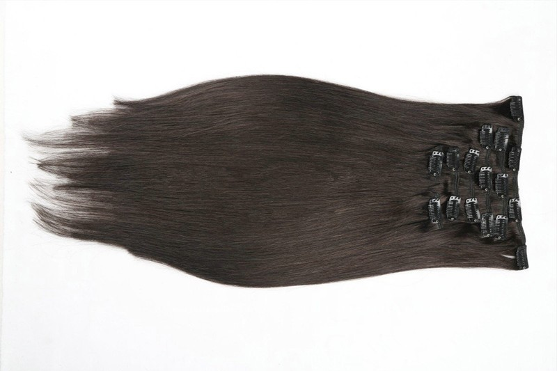 #2 Dark Brown Peruvian Clip in Human Hair Extensions Full Head Natural Straight Clip in Hair Extensions 70g-120g