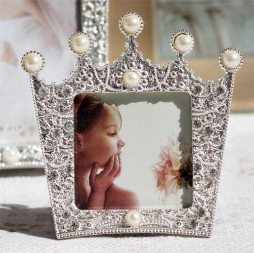New Fashion Crystal Pearl Crown Home Decor Photo Frame