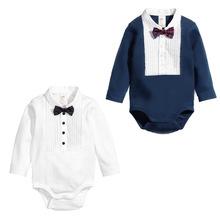 2016 one- piece baby boy wearing bebe gentleman bow tie bodysuits newborn jumpsuit infant casual cute playwear children roupas