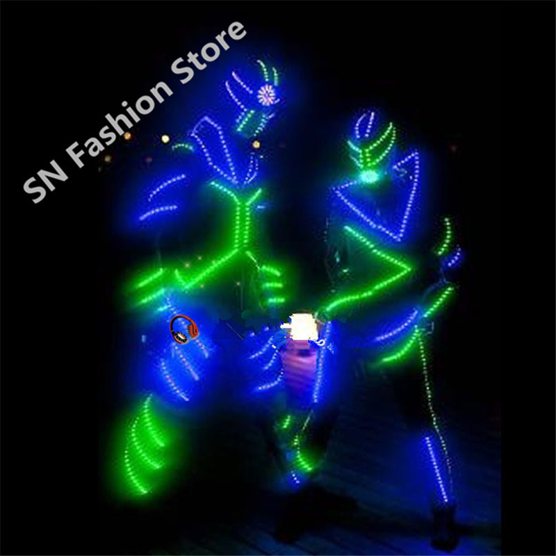 FZ001 Mens LED light Robot Luminous costume Illuminated ballroom suit dance/2 colors colorful party dancing  cloth pants helmentОдежда и ак�е��уары<br><br><br>Aliexpress